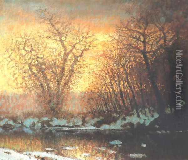 Thawing of Snow 1896-99 Oil Painting - Laszlo Mednyanszky
