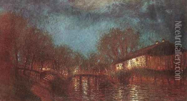 Willows on the River-Bank c. 1905 Oil Painting - Laszlo Mednyanszky