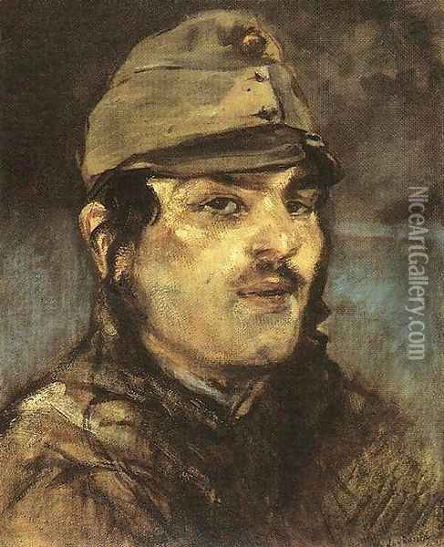 Young Soldier 1910s Oil Painting - Laszlo Mednyanszky