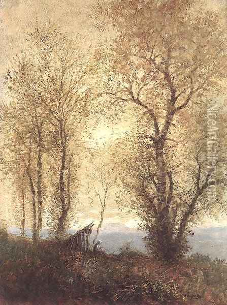 Landscape at Autumn 1890s Oil Painting - Laszlo Mednyanszky