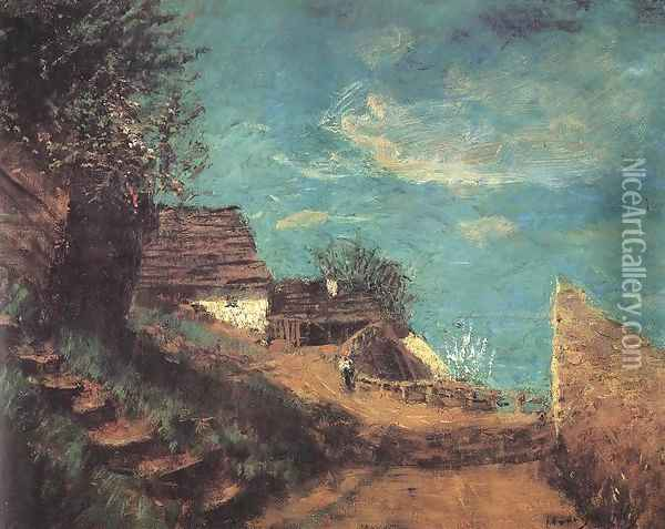 Part of Taban c. 1900 Oil Painting - Laszlo Mednyanszky