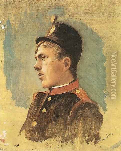 Head of a Soldier c. 1915 Oil Painting - Laszlo Mednyanszky