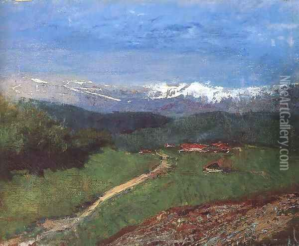 Landscape in the Alps View from the Rax c. 1900 Oil Painting - Laszlo Mednyanszky