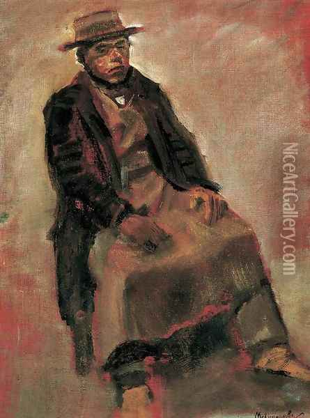 Man Seated Wearing Hat Oil Painting - Laszlo Mednyanszky