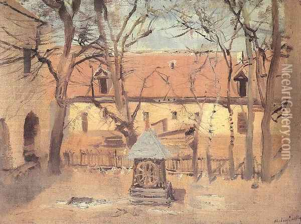 Part of a Courtyard with Well c. 1910 Oil Painting - Laszlo Mednyanszky