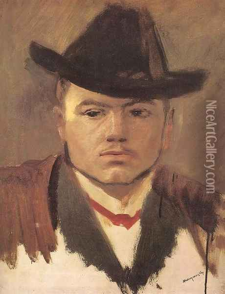 Peasant Boy with Hat Study Oil Painting - Laszlo Mednyanszky
