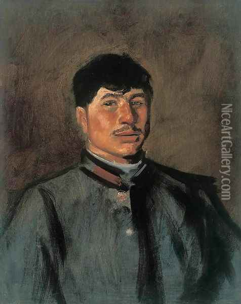 Portrait of a Young Soldier 1914-15 Oil Painting - Laszlo Mednyanszky