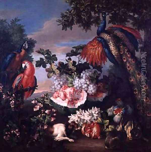 Fruit and Exotic Birds in a Landscape Oil Painting - Jean-Baptiste Monnoyer