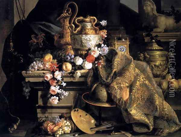 Still-Life of Flowers and Fruits 1665 Oil Painting - Jean-Baptiste Monnoyer