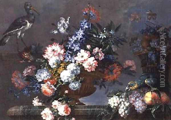 A Still Life of Fruit and Flowers with Birds Oil Painting - Jean-Baptiste Monnoyer