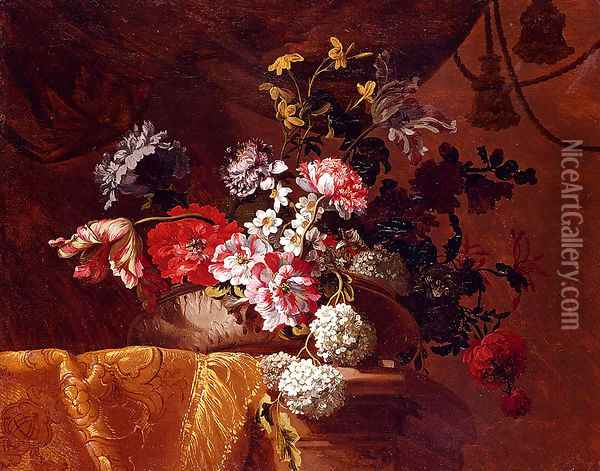 Still Life Of Hydrangeas, Convolvuli, Peonies And Other Flowers In An Urn On A Draped Stone Ledge Oil Painting - Jean-Baptiste Monnoyer