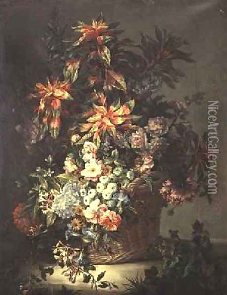 Roses convolvuli poppies honeysuckle and other flowers Oil Painting - Jean-Baptiste Monnoyer