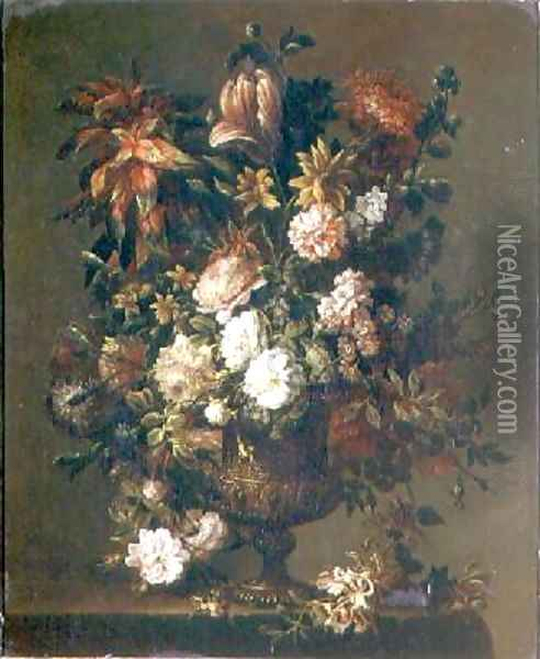 Tulips Narcissi and other flowers Oil Painting - Jean-Baptiste Monnoyer
