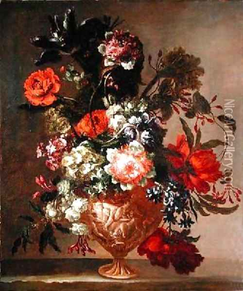 Still life of flowers in a sculpted vase Oil Painting - Jean-Baptiste Monnoyer