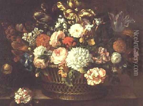 Peonies tulips narcissi and other flowers in a basket Oil Painting - Jean-Baptiste Monnoyer