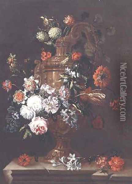 Still Life with Roses Tulips and other Flowers in an Urn on a Stone Ledge Oil Painting - Jean-Baptiste Monnoyer