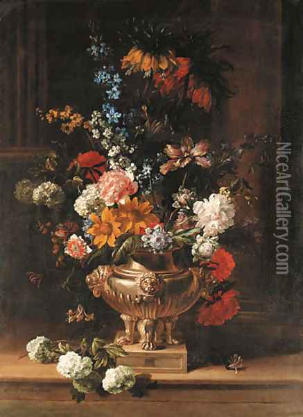 Parrot tulips, chrysanthemum, hydrangea, honeysuckle, borage, paeonies, Crown Imperial fritillaries and other flowers in a sculpted urn on a ledge Oil Painting - Jean-Baptiste Monnoyer