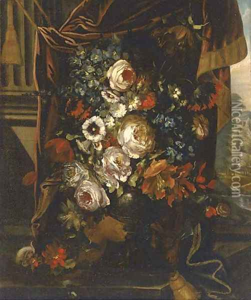 Roses, convulvulae, poppies and other summer flowers in an urn by a draped pillar Oil Painting - Jean-Baptiste Monnoyer