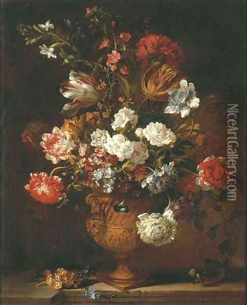 Parrot tulips, chrysanthemums, primroses, morning glory and other flowers in a sculpted urn on a stone ledge Oil Painting - Jean-Baptiste Monnoyer