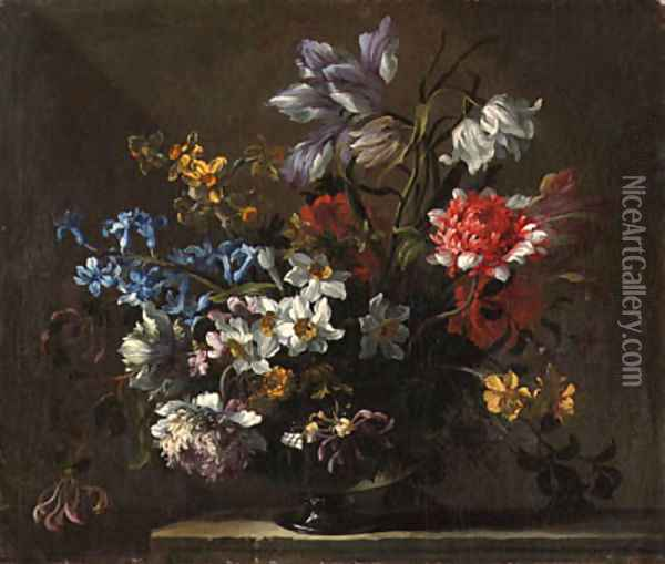 Narcissi, peonies, hyacinth, honeysuckle and a tulip in a glass vase on a ledge Oil Painting - Jean-Baptiste Monnoyer