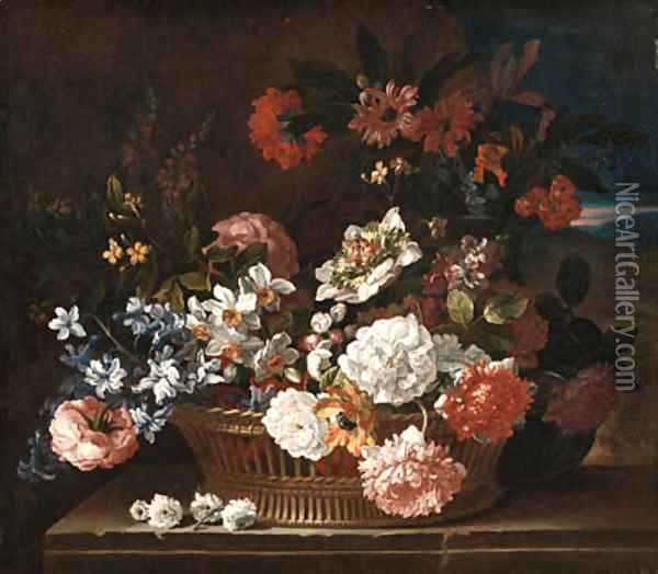 Roses, Narcissi, a Hyacinth, Primulae, Jasmine, Carnations and other Flowers in a wicker Basket on a stone Ledge, a Landscape beyond Oil Painting - Jean-Baptiste Monnoyer