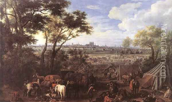 The Army of Louis XIV in front of Tournai in 1667, 1684 Oil Painting - Adam Frans van der Meulen