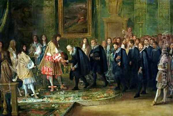 The Reception of the Ambassadors of the Thirteen Swiss Cantons by Louis XIV 1638-1715 at the Louvre 11th November 1663 1664 Oil Painting - Adam Frans van der Meulen
