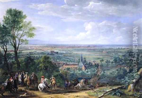 Louis XIV 1638-1715 at the Siege of Lille facing the Priory of Fives August 1667 Oil Painting - Adam Frans van der Meulen