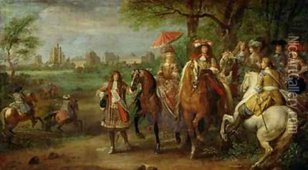 View of the Chateau de Vincennes with Louis XIV 1638-1715 and Maria Theresa 1638-83 of Austria 1669 Oil Painting - Adam Frans van der Meulen
