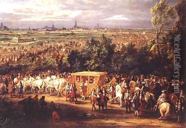 The Entry of Louis XIV 1638-1715 and Marie-Therese 1638-83 of Austria in to Arras 30th July 1667 1685 2 Oil Painting - Adam Frans van der Meulen