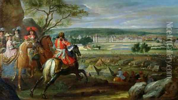 View of the Palace of Fontainebleau from the Flowerbed Side 1669 Oil Painting - Adam Frans van der Meulen