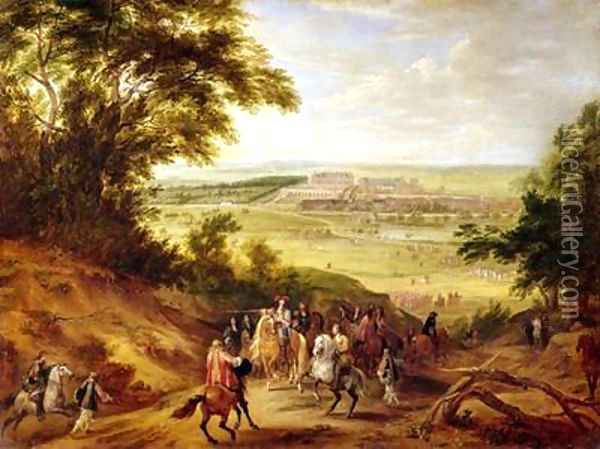 View of the Chateau de Versailles from the Heights of Satory 1664 Oil Painting - Adam Frans van der Meulen
