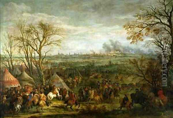 The Taking of Cambrai in 1677 by Louis XIV 1638-1715 late 17th century Oil Painting - Adam Frans van der Meulen