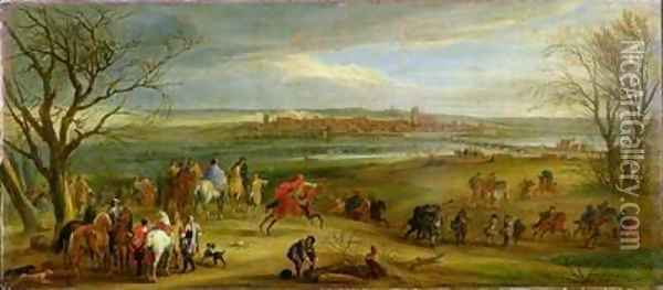 View of the Siege of Dole 14th February 1668 after 1668 Oil Painting - Adam Frans van der Meulen