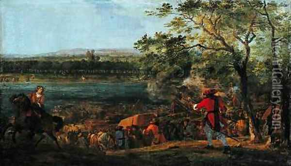 The Arrival of the Pontoneers for the Crossing of the Rhine late 17th century Oil Painting - Adam Frans van der Meulen