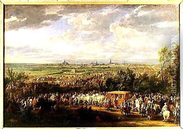 The Entry of Louis XIV 1638-1715 and Marie-Therese 1638-83 of Austria in to Arras 30th July 1667 1685 Oil Painting - Adam Frans van der Meulen