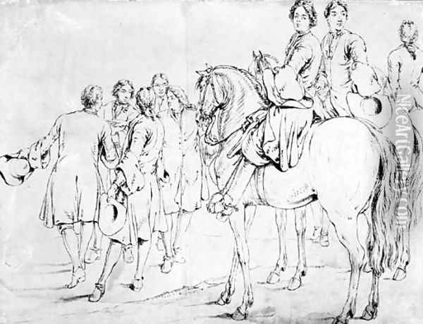 Two mounted Officers, a third behind and a group of five men conferring, some gesturing to the left Oil Painting - Adam Frans van der Meulen
