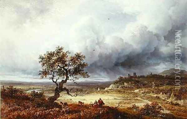 Countryside under a Stormy Sky Oil Painting - Georges Michel
