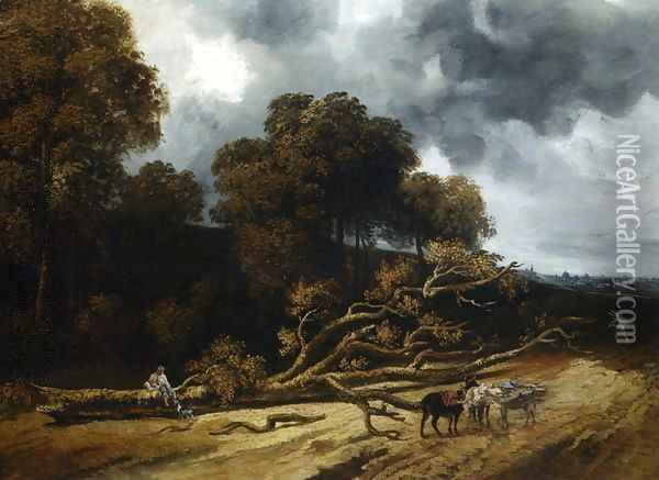 A Landscape with Fallen Trees Oil Painting - Georges Michel
