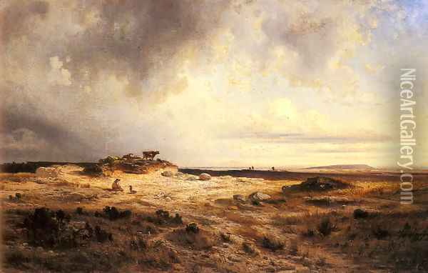 An Extensive Landscape with a Stormy Sky Oil Painting - Georges Michel