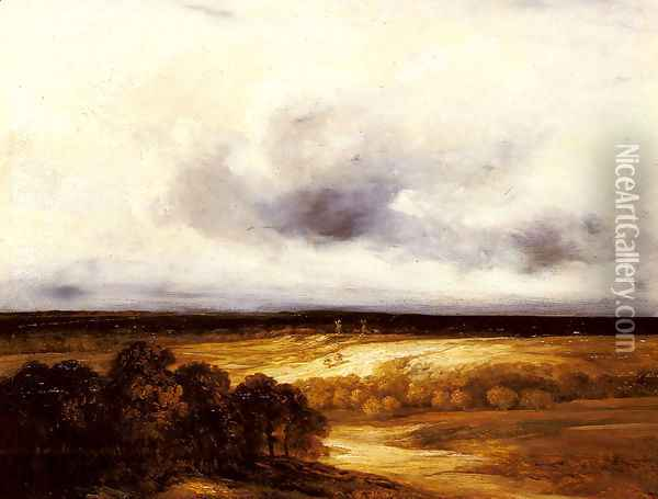 An Extensive Landscape with Windmills Oil Painting - Georges Michel