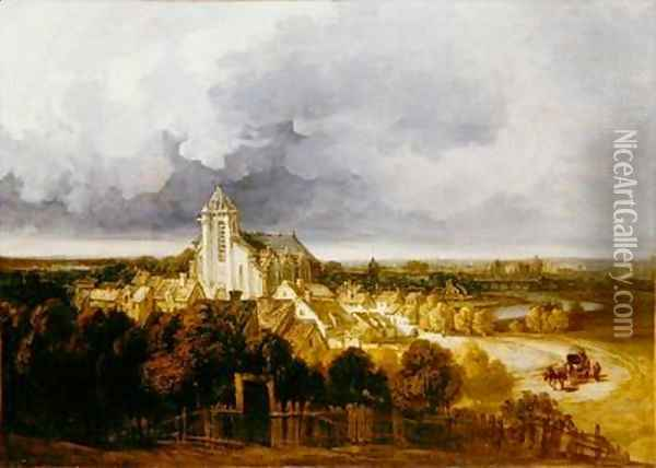 View of Meaux Oil Painting - Georges Michel