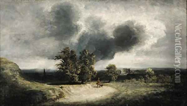 Landscape on the Outskirts of Paris Oil Painting - Georges Michel