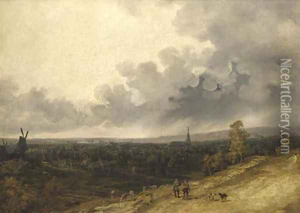 A view over a village in a rainstorm Oil Painting - Georges Michel