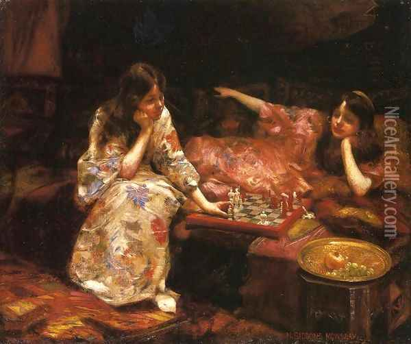 Repose - A Game of Chess Oil Painting - Henry Siddons Mowbray