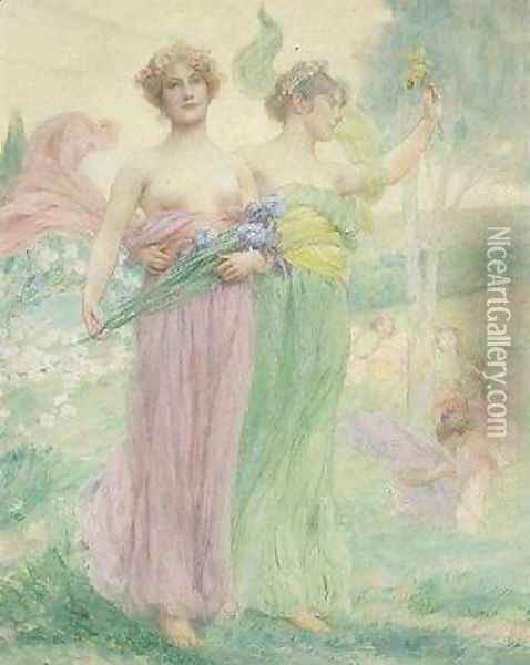Florial Oil Painting - Henry Siddons Mowbray