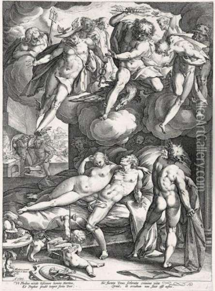 Mars And Venus Surprised By Vulcan (holl.137) Oil Painting - Hendrick Goltzius