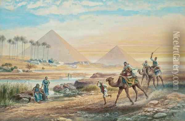 Camels At The Pyramids Of Giza Oil Painting - Frederick Goodall