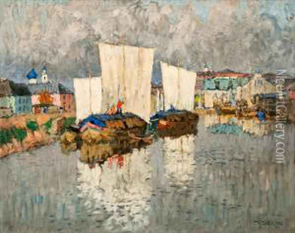 Barges Near The River Bank Oil Painting - Konstantin Ivanovich Gorbatov
