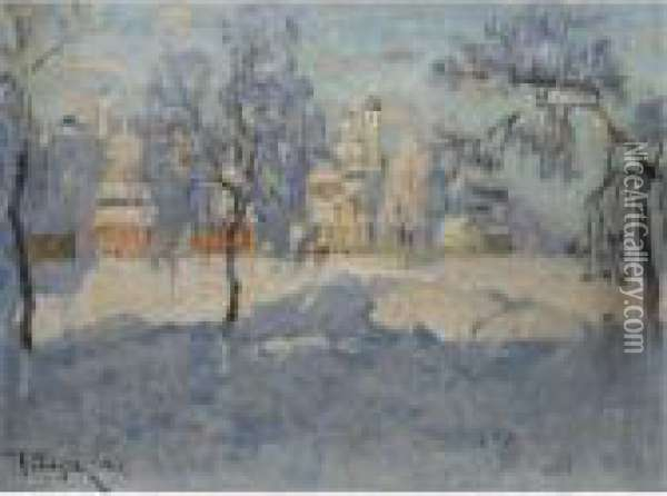 View Of Pskov Under Snow Oil Painting - Konstantin Ivanovich Gorbatov